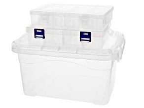 Storage Collection Large 3 Piece Clear Rectangular Organizers in Assorted Sizes