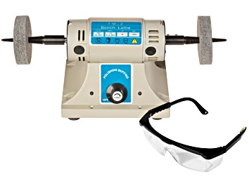 Picture of Benchtop Polisher With 2 Buffs And A Pair Of Safety Glasses