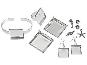 Bezel & Embeddables Kit incl 2 Pendant Bezels, 1 Pair Earring Bezels,Square Ring Bezel, & Bracelet