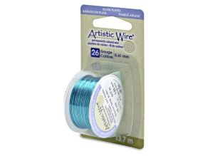 Artistic Wire, 26 Gauge (.41mm), Silver Plated, Seafoam Green, 15 Yd (13.7 m)