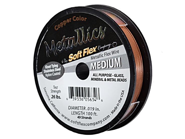 Metallic Soft Flex Medium Copper Color Beading Wire .019 inch 100 ft ...