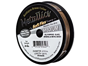 Metallic Medium Antique Brass Beading Wire .019 inch 100 ft Spool