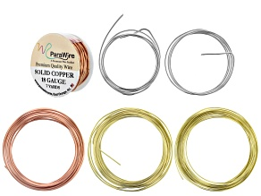 Round Wire in Bare Copper, Yellow Brass, and Fine Silver in 16G & 18G Appx 76ft Total