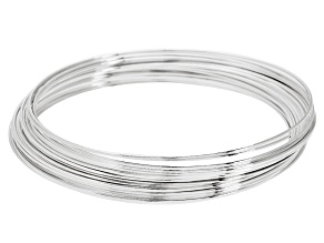 Silver Tone Round Memory Wire Large Bracelet, Approx .025
