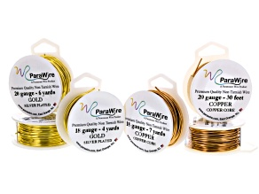 Metallic Craft Wire Kit Gold Tone Silver Over Copper And Natural Copper 18 And 20ga 43yd Total