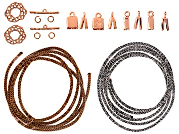 Picture of Silversilk Leather Knitted Wire Kit includes Wire, Toggle Clasps,End Caps And Jump Rings