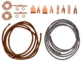 Silversilk Leather Knitted Wire Kit includes Wire, Toggle Clasps,End Caps And Jump Rings