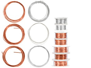 Wire Kit includes Copper, Half Hard Copper & Silver Over Copper in Assorted Gauges Total Appx 362ft