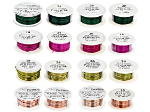 Color Coated Silver Over Copper Wire Kit/4 Assorted Colors incl 18, 24, 26 & 28 Gauge Wires 16pc Set