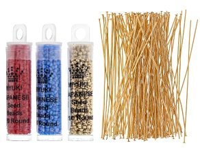 "Seed Bead Supply Kit in 11/0 Red, Gold Color & Blue Appx 8.5GM Each & 3"" Headpins in Gold Tone"