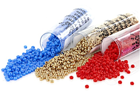 Seed Bead Supply Kit in 11/0 Red, Gold Color & Blue Appx 8.5GM Each & 3
