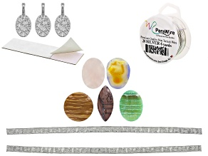 Designing with Cabochons Jewelry Making Supply Kit in Silver Tone  for Making Pendants and Bracelets