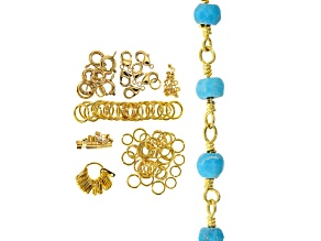 I Made This: Beaded Chain Necklace Supply Kit with Turquoise Simulant in Gold Tone