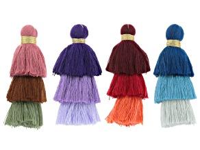 Pre-Owned YouTube Only 3-Tier Fringe Tassels in Blue, Purple, Red & Multi Set Of 4