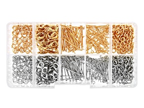 Pre-Owned Findings Kit in Silver and Gold Tones Includes Eyepins, Headpins, Clasps and Jump Rings
