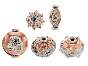 Pre-Owned Designer Component Sterling Silver and Copper Spacer Beads 5 Pieces Total