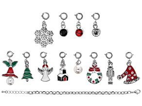 "Pre-Owned ""Christmas Countdown"" Bracelet Foundation and 12 Enameled Charm Kit in Silver Tone"