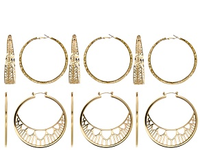 Pre-Owned Filigree Earring Foundation Set of 6 Pairs in 2 Styles in Gold Tone