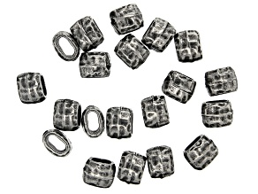 Antiqued Pewter Tone Distressed Appx 4x2mm Barrel Shaped Bead Appx 20 Pieces