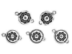 Antiqued Silver Tone Lotus Magnetic Clasp Set 5 Pieces