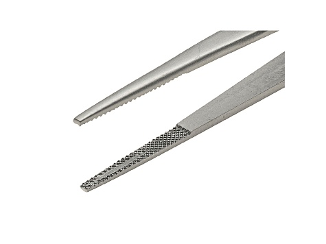 6 1/4 inch X-Large Tip Stainless Steel Gemstone Tweezers With Silver Tone Finish