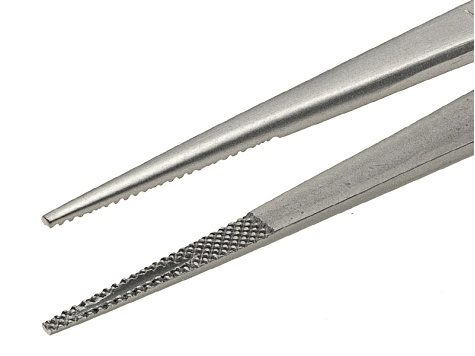 6 1/4 inch Large Tip Locking Stainless Steel Gemstone Tweezers With Silver Tone Finish