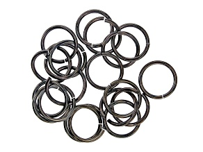 Vintaj 15 Gauge Jump Rings in Black Hematite Tone Over Brass Appx 15mm Appx 20 Pieces