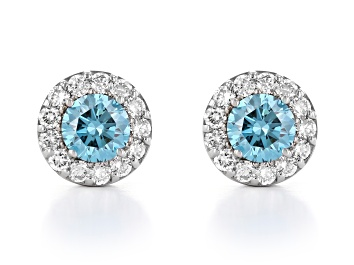 Picture of Blue And White Lab-Grown Diamond 14kt White Gold Halo Stud Earrings 1.00ctw