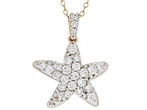 White Lab-Grown Diamond 14kt Rose Gold Starfish Pendant 1.00ctw