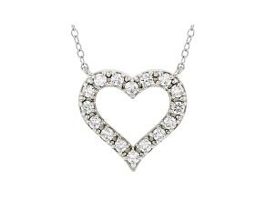 White Lab-Grown Diamond 14kt White Gold Heart Necklace 0.50ctw