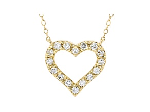 White Lab-Grown Diamond 14kt Yellow Gold Heart Necklace 0.50ctw