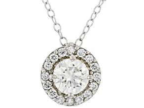 Round white lab-grown diamond, 14k white gold halo pendant 0.75ctw.