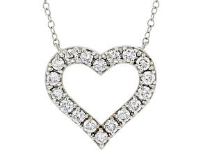 White Lab-Grown Diamond 14kt White Gold Heart Necklace 0.75ctw