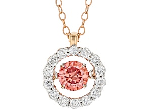 Pink and White Lab-Grown Diamond,  14kt Rose Gold Dancing Pendant 0.75ctw