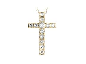 White Lab-Grown Diamond 14kt Yellow Gold Cross Pendant 0.75ctw