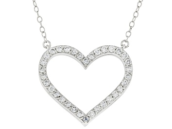 Picture of Blue and white Lab-Grown Diamond, 14k White Gold Reversible Heart Necklace 1.00ctw