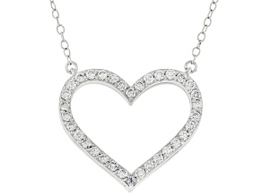 Blue and white Lab-Grown Diamond, 14k White Gold Reversible Heart Necklace 1.00ctw