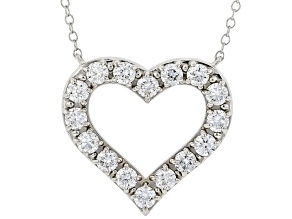 White Lab-Grown Diamond 14kt White Gold Heart Necklace 1.00ctw