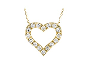 White Lab-Grown Diamond 14kt Yellow Gold Heart Necklace 1.00ctw