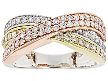 Picture of White Lab-Grown Diamond 14kt Tricolor Gold Ring 1.00ctw