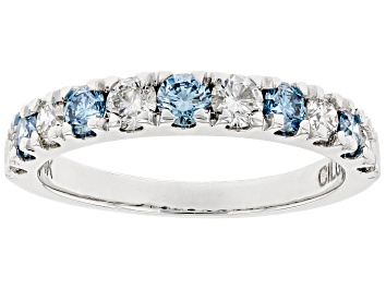 Picture of 1.00ctw White And Blue Lab-Grown Diamond 14kt White Gold Ring