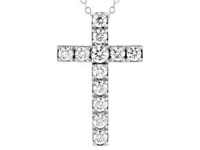 White Lab-Grown Diamond 14kt White Gold Cross Pendant 1.00ctw