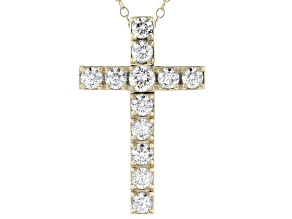 White Lab-Grown Diamond 14kt Yellow Gold Cross Pendant 1.00ctw