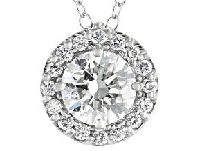 White Lab-Grown Diamond 14kt White Gold Halo Pendant 1.00ctw