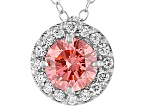 Pink And White Lab-Grown Diamond 14kt White Gold Halo Pendant 1.00ctw.