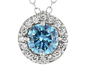 Blue And White Lab-Grown Diamond 14kt White Gold Halo Pendant 1.00ctw