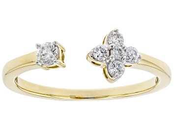 Picture of White Lab-Grown Diamond 14kt Yellow Gold Ring 0.25ctw