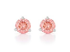 pink lab-grown diamond 14kt white gold martini stud earrings 1.00ctw