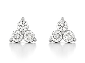 White Lab-Grown Diamond, 14k White Gold Earrings 1.00ctw