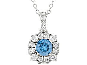 Blue and White lab-grown diamond 14K white gold halo pendant 1.00ctw